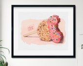 Pink Mickey Ears Treat Watercolor Giclée Print | Rice Krispy Dessert Disney Painting