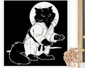 Ninja Kitten | Black Cat Art Print | CAT LOVER GIFT | Kids Room Decor