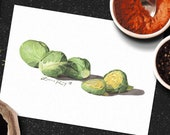 Brussel Sprouts Watercolor Print • Gourmet Food Fine Art Print • Stylish Kitchen Decor • Modern Kitchen Wall Decor • Garden Watercolor