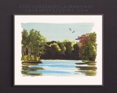 Twilight Lake Watercolor Giclée Print | Eagle River Wisconsin in the Evening
