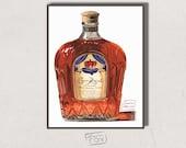Bottle of Crown Royal Whiskey Giclée Watercolor Print