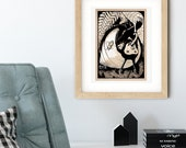 Sun Bear Snail Whimsical Pen + Ink Giclée Print