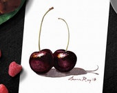 Black Cherries Watercolor Print • Fruit Kitchen Art • Food Watercolor Painting Fine Art Print • Gifts for Mom • Modern Kitchen Wall Decor