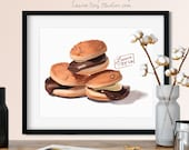 Everyburger Japanese Cookies Watercolor Giclée Print