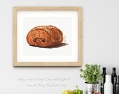 Chocolate Croissant Pastry Watercolor Print • Dessert Watercolor Painting Fine Art Print • Gifts for Mom • Kitchen Wall Decor