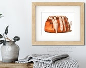 Pecan Cinnamon Roll Watercolor Giclée Print