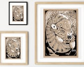 Polar Bear Nautilus Whimsical Pen + Ink Giclée Print