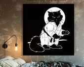 Ninja Kitten | Black Cat Art Print | CAT LOVER GIFT | Kids Room Decor
