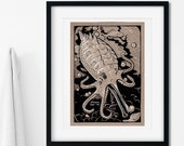 Hand-Drawn Ocean Octopus Creature Art Print | Imaginary Under the Sea Wall Art | Ocean Nursery Art