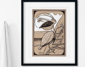 Pelican Katydid Whimsical Creature Art Print | Imaginary Beach Wall Art | Ocean Nursery Art