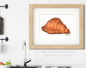 Butter Croissant Pastry Watercolor Print • Cafe Art • Dessert Watercolor Painting Fine Art Print • Gifts for Mom • Modern Kitchen Wall Decor