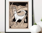 Fairy Armadillo Mule Whimsical Creature Art Print | Imaginary Horse Wall Art | Desert Nursery Art