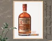 Bottle of Templeton Rye Whiskey Giclée Watercolor Print