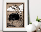 Mountain Bird Whimsical Pen + Ink Giclée Print