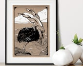 Hand-Drawn Imaginary Mountain Bird Wall Art Print | Imaginary Woodland Wall Art | Woodland Nursery Art