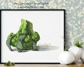 Overturned Broccoli Watercolor Giclée Print