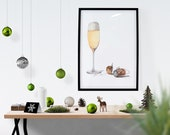 Glass of Champagne Watercolor Print | Wine Kitchen and Home Bar Wall Decor | Wedding Celebration Gift | Home Office Art