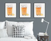 Pint of Beer Watercolor Giclée Print - Personalized Set of 3