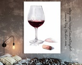 Pinot Noir Red Wine Watercolor Print | Wine Wall Art | Kitchen Wall Decor | Gifts for Mom | Valentines Day Gift | Gift for Boyfriend