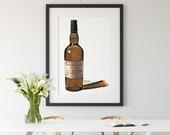 Bottle of Caol Ila Scotch Whisky Giclée Watercolor Print