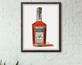 Bottle of Pikesville Rye Whiskey Giclée Watercolor Print