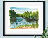 Northwoods Lake Watercolor Giclée Print | Eagle River Wisconsin in the Afternoon