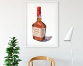 Bottle of Bourbon Whisky Giclée Watercolor Print • Home Bar Wall Decor • Gifts for Him •  Whisky Art • Bourbon Minimal Bar Art • Kitchen Art