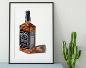 Bottle of Jack Daniel's No. 7 Whiskey Giclée Watercolor Print