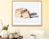 Soft-Ripened Triple Crème Mt Tam Cheese Watercolor Giclée Print