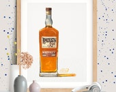Bottle of Limousin Rye Whiskey Giclée Watercolor Print
