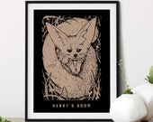 Hedgehog Fox Whimsical Pen + Ink Giclée Print