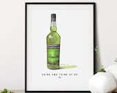 Chartreuse Liqueur Bottle Watercolor Print • Home Bar Wall Decor • Gifts for Him • Personalized Wall Art