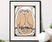 Hand-Drawn Woodland Love Birds Whimsical Pen + Ink Giclée Print