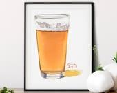 Pint of Beer Watercolor Giclée Print