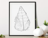 Striped Feather Art Print on Watercolor Paper | Boho Bird Lover Gift | Woodland Wall Art Feather Art