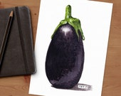 Purple Eggplant Watercolor Print • Vegetable Kitchen Art • Food Watercolor Prints • Gifts for Mom • Modern Kitchen Wall Decor