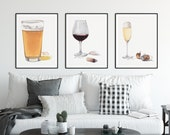 Wine and Beer Watercolor Print Set of 3: Beer, Red Wine, Champagne