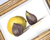 Lemon & Figs Watercolor Print • Gourmet Food Art Print • Stylish Kitchen Decor • Modern Kitchen Wall Decor • Fruit Watercolor • Gift for Mom