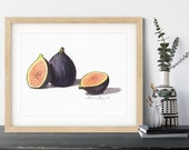Figs Watercolor Painting Kitchen Art Print • Stylish Kitchen Decor • Modern Kitchen Wall Decor • Fruit Watercolor Prints • Gift for Mom