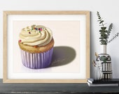 Frosted Cupcake Painting Giclée Print | Dessert Painting Fine Art Print | Gifts for Mom | Kitchen Wall Decor | Cupcake Cafe Art