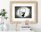 Skull Wall Art Print • Skull Drawing Decor • Science Painting Art Print • Halloween Wall Art • Gifts for Scientists • Modern Wall Decor
