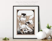 Hand-Drawn Woodland Chickadee Leopards Whimsical Pen + Ink Giclée Print