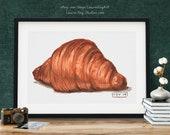 Butter Croissant Pastry Watercolor Giclée Print