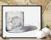 Frosty Old Fashioned Cocktail Glass Watercolor Giclée Print