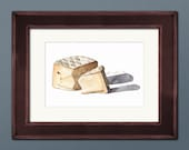 Cheese Wedge Watercolor Print • Wine and Cheese Print • Home Bar Wall Decor • Kitchen Watercolor • Gift for Chef • Modern Kitchen Wall Decor