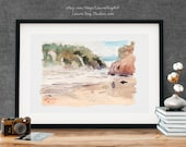 Oregon Coast Beach Watercolor Giclée Print | Pacific Northwest Beach