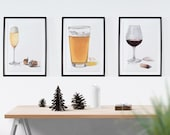 Wine and Beer Watercolor Prints Set : Beer Print, Glass of Red Wine Print, Glass of Champagne Print • Beverage Art • Bar Art Print Bar Decor