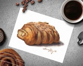 Almond Croissant Pastry Watercolor Print • Cafe Art • Dessert Watercolor Painting Fine Art Print • Gifts for Mom • Modern Kitchen Wall Decor