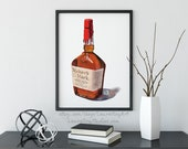 Bottle of Maker's Mark Bourbon Whisky Giclée Watercolor Print