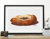 Blueberry Danish Pastry Watercolor Giclée Print